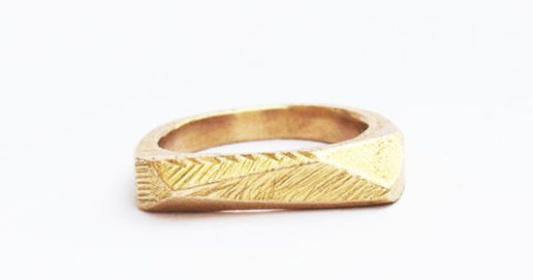 Brass Faceted Bar Ring Uncovet
