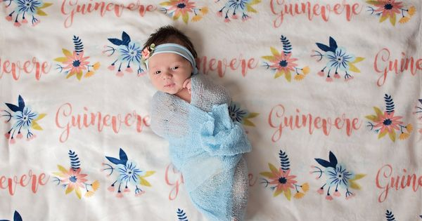 Flash Sale Floral Pattern Personalized Boho Blanket Baby Girl