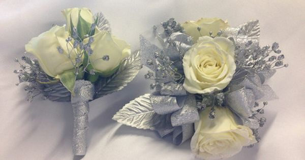 White And Silver Corsage And Boutonniere Prom Corsage And