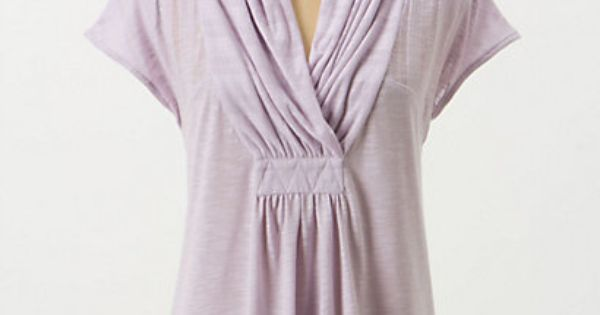 shawl-collar v-neck on anthropologie Deletta's slubby tee boasts a gathered, face-flattering neckline