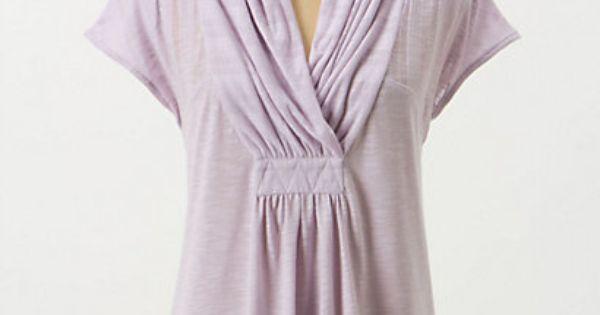 shawl-collar v-neck on anthropologie Deletta's slubby tee boasts a gathered, face-flattering neckline