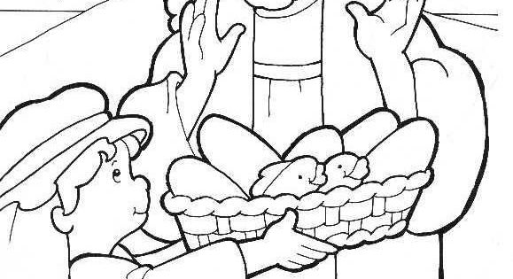 Fish and loaves bible story page coloring pages for Five loaves and two fishes coloring page