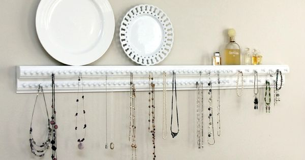 Jewelry organizer using wood trim scraps and upholstery tacks