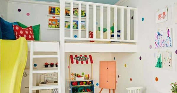 A Mezzanine Floor Makes Practical Use Of Small Bedrooms And Playrooms Use The Upper Level For A Rea Stylish Playroom Colorful Playroom Playroom Color Scheme