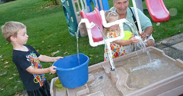 Sand water table turned into endless water fun with pvc for Diy sand and water table pvc