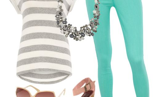 Teal Jeans, stripes, chunky necklace