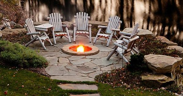 Pack patio idea, like the path and built in fire pit