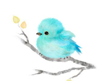 Baby Bird Painting Pink Robin Bird Robin Bird Baby By Fluffibee