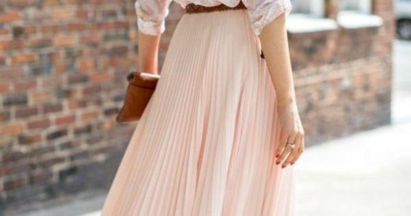 comment porter la jupe longue pliss e 80 id es jupe pliss e rose rose pale et jupe mi longue. Black Bedroom Furniture Sets. Home Design Ideas