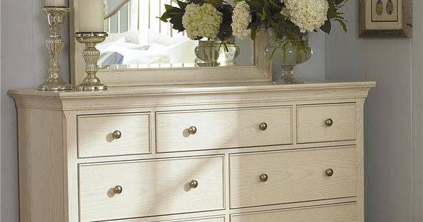 Master Bedroom Ashby Park Dresser With 7 Drawers And Beveled Vertical Mirror By American Drew