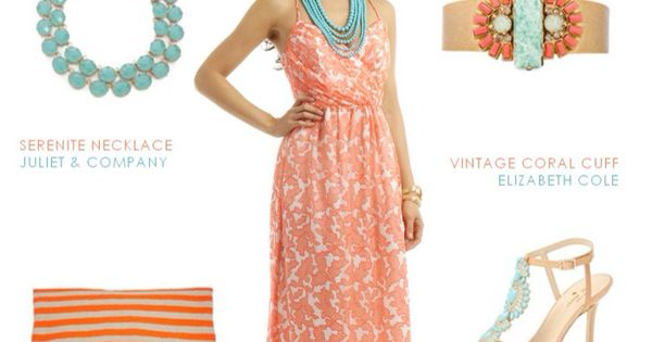 Immediate family to wear coral colored outfits with mint for Jewelry to wear with coral dress
