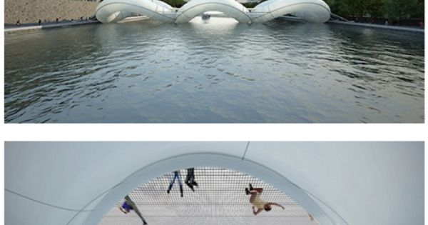 trampoline bridge: river seine, france. AWESOME!