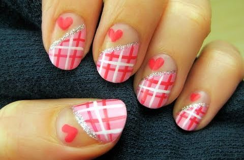 Half-Nail Plaid Nail Art nailart