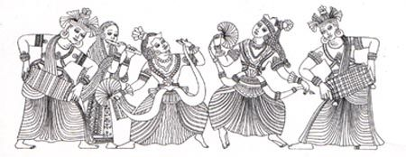 Sri Lankan Dancing Graphic Design Art Color Pencil Art Free Vector Art