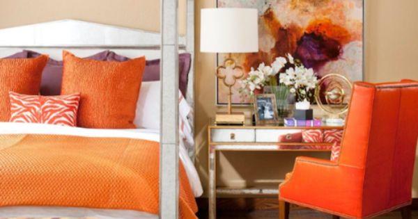 Bright hues orange all about orange pinterest for Bright orange bedroom ideas