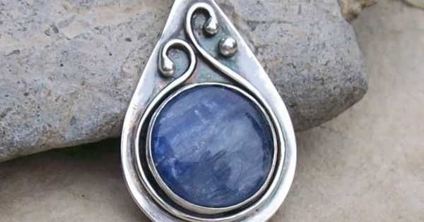 Handmade Sterling Silver Bezel Set Kyanite Teardrop Pendant Necklace with Iolite. $56.00,
