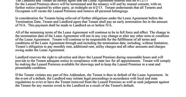 Sample Lease Termination Letter To Tenant: Mutual Termination Of Lease Tenancy