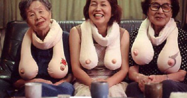 Boob scarves. Evidently they come in different sizes and with tattoos.