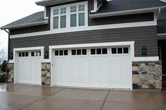 Lane Myers Construction Custom Home Builder Field Of Dreams Garage Doors White White Trim Stone Exterior G Garage Door Styles Garage Door Design House Exterior