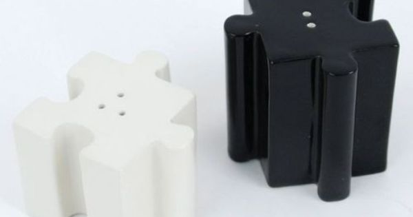Puzzle salt and pepper ceramic covet pinterest ceramics salts and puzzles - Chemistry salt and pepper shakers ...