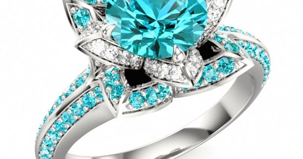 LOTUS FLOWER ROYAL| Designer Engagement Ringwith Swarovski Brilliance Cubic Zirconia Mint and
