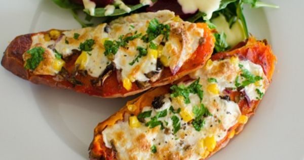 Pizza Topped Baked Sweet Potato | Recipe | Baked sweet ...