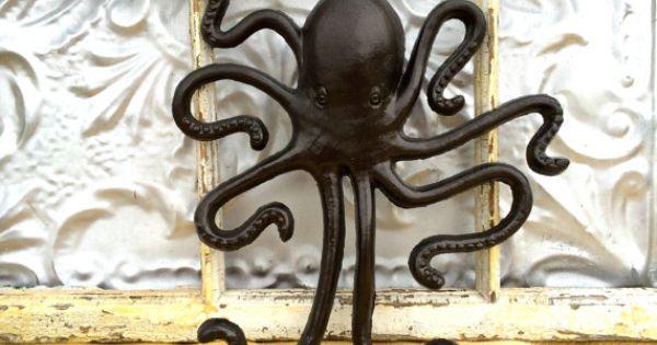 Coat hook octopus animal wall hook jewelry organizer oil rubbed bronze bath hook octopus - Coat hook octopus ...
