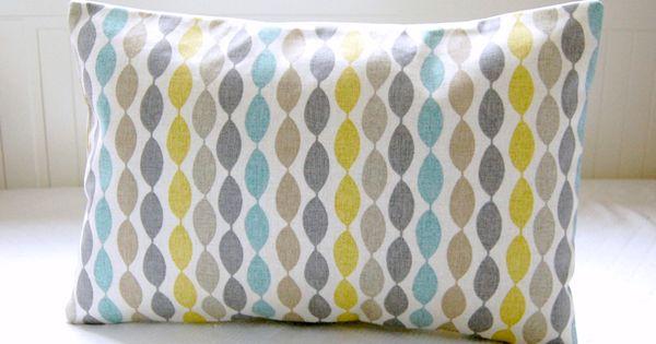 14 16 18 Inch Blue Retro Decorative Pillow Cover Grey