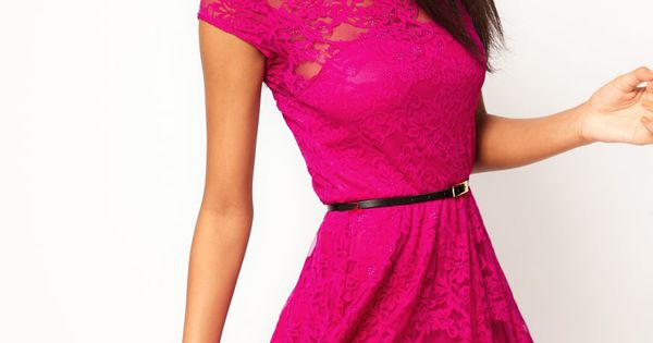 magenta lace dress