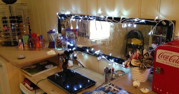 My teenage daughter's sensory addition to her make-up area all #DIY with string lights in LED ...