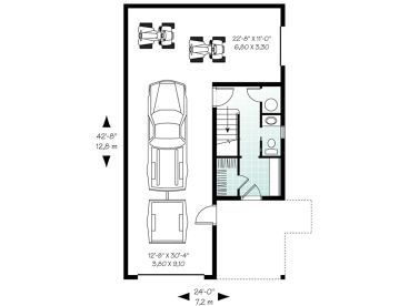 24x50 2 Car Tandem Parking That Would Allow For A Larger Bedroom Add 4 Ft And Living Dini Garage Apartment Floor Plans House Plans Garage Apartment Plans