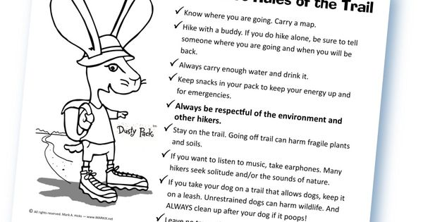 Meet Dusty Pack Tm The Hiking Backpacking Jackrabbit Go To His Website DustyPack Print Out Dustys Rules Of Trail PDF