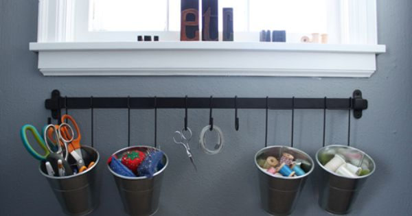 Organization ikea kroken rail hanging hooks buckets for Peg rail ikea