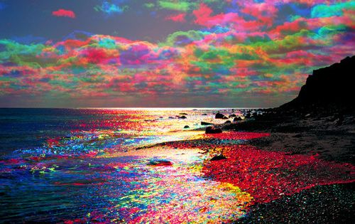 Rainbow colored clouds - we actually saw a few of these at