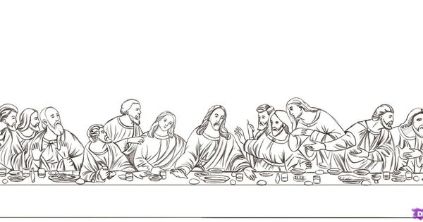 How to Draw The Last Supper Step