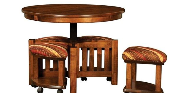Amish Mission Round Coffee Table And Stool Set With Hydraulic Lift Furniture Amish And Round