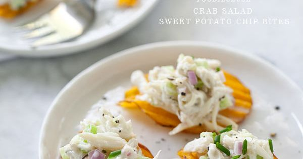 Crab Salad Sweet Potato Chip Bites are a super easy appetizer recipe