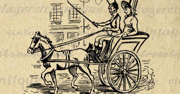 Printable Graphic Antique Couple Horse Carriage Download Romance Love Image Digital Vintage Clip ...