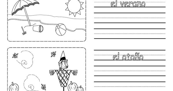 printable worksheet on the seasons in spanish with pictures to color school pinterest. Black Bedroom Furniture Sets. Home Design Ideas