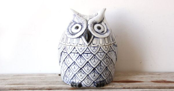 Large Blue White Ceramic Owl Cookie Jar Pinned By Www