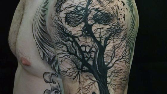 Optical Illusion Tree Skull Mens Life And Death Half ...