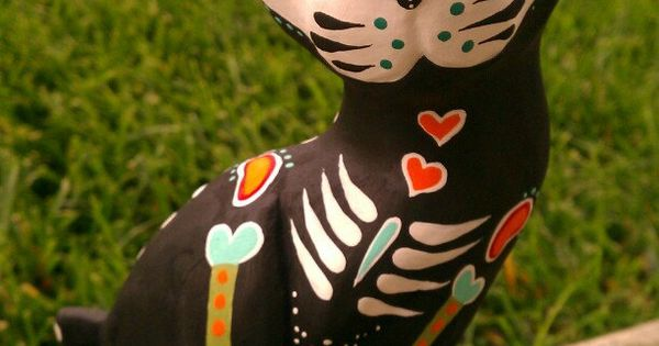 CUSTOM ORDER - 3 CATS - Dia de los Muertos Hand Carved