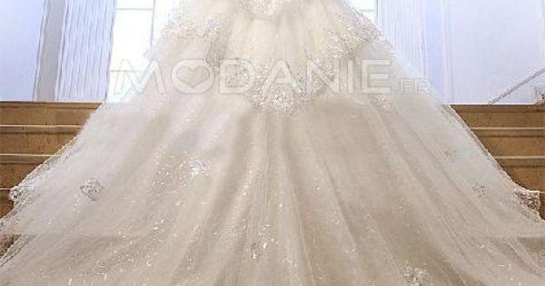 Robe de mariée sur mesure princesse luxe bustier paillette originale ...