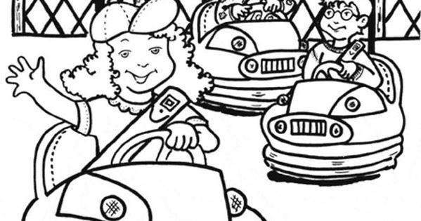 botsauto kleurplaat zoeken thema kermis