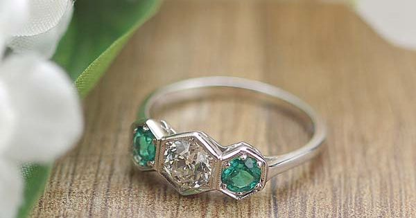 Replica Art Deco Three stone Ring with vintage old european cut diamond
