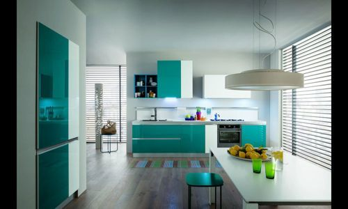 Cocina Color Turquesa Decoracion De Cocina Moderna Decoracion De Cocina Decoracion De Cocinas Integrales