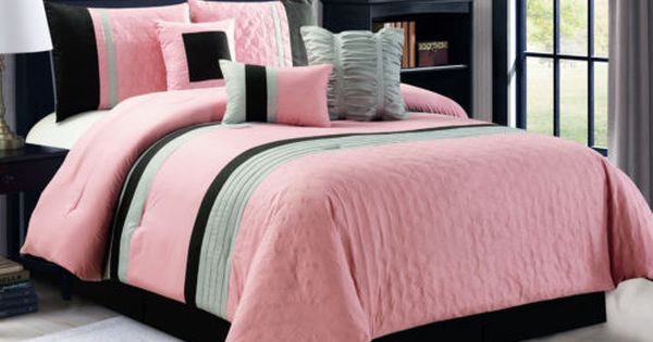 7 Pc Leaves Embossed Pleated Ruffled Comforter Set Pink Black Silver Gray Queen Pink Bedding Comforter Sets Black And Grey Bedroom