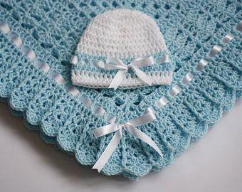 Crochet Baby Blanket Hat and Booties Green White Baby Shower Gift Baby Girl Set Christening Baptism