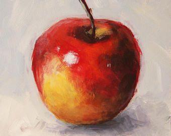Nature Morte A La Pomme Peinture Originale De Fruits Pomme Rouge