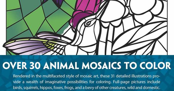 Creative Haven Animal Mosaics Coloring Book By Jessica
